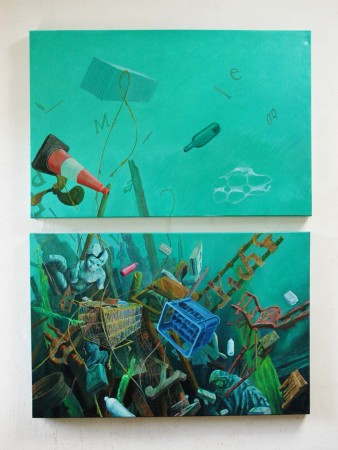 Out of Sight, Out of Mind. Oil on canvas diptych